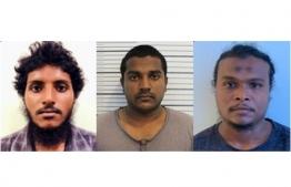 Mujaz Ahmed, 21 (L), Adhuham Rasheed, 26 (M) and Thahmeen Ahmed 32. PHOTO: POLICE