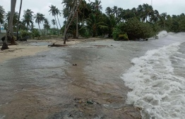 In-land area of Hoarafushi flooded due to surge waves