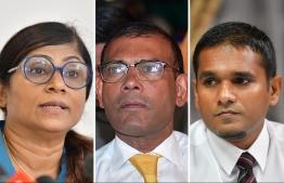 Defence Minister Mariy, MP Speaker Nasheed, MP Labeeb -- Photo: Mihaaru