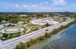(FILE) An Aerial photo of City Square in Hithadhoo, Addu: four people in Addu has passed away due to COVID-19 so far --