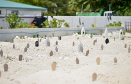 Hulhumale Graveyard: 11 people have passed away from COVID-19 this month -- Photo: Nishan Ali/ Mihaaru