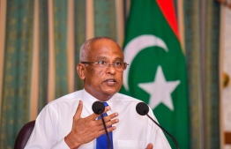 President Ibrahim Solih at a press conference held in May: he urged everyone that is unvaccinated to get their shots as soon as possible -- Photo: President's Office