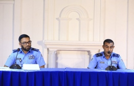 Police press conference regarding the attack on President Mohamed Nasheed -- Photo: Police