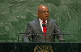 Minister Abdulla Shahid, giving a speech shortly after being elected as the President of the United Nation's General Assembly.