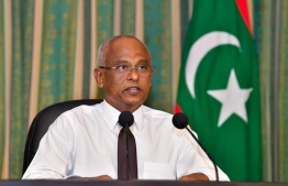 President Ibrahim Mohamed Solih addressing the media in a virtual press conference today -- Photo: President's Office