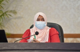 Dr. Nazal Rafeeq at a press conference: she spoke on the looser restrictions for the next two weeks in the Male' area -- Photo: President's Office