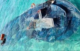 The speedboat sunken after the incident