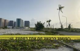 Hulhumale, security tape on the beach -- Photo: Mihaaru