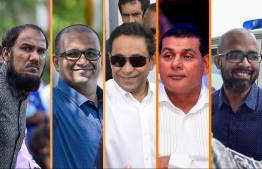 From left to right: Former MP Ali Mauroof, Former Vice President Ahmed Adeeb, Former President Abdulla Yameen, MP Mohamed Siyam Ahmed, Former MD of MMPRC Abdulla Ziyath: these were some of the people acting as witnesses on the case against Yameen --