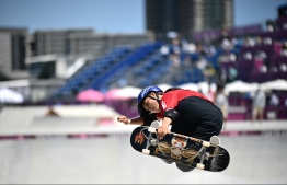 Japan's Sakura Yosozumi competes in the women's park final during the Tokyo 2020 Olympic Games at Ariake Sports Park Skateboarding in Tokyo on August 04, 2021 -- Photo: Loic Venance/ AFP
