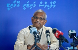 (FILE) Governor of MMA Ali Hashim on August 22, 2021: MMA had announced in 2018 as well that buying and selling of cryptocurrencies will not be valid -- Photo: Ahmed Awshan Ilyas/ Mihaaru