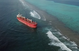 (FILE) Aerial shot of the bulk carrier Navio Amaryllis that had run aground in Rasfaree Reef in August: EPA said it would take over ten years to recover the damages the reef suffered in this incident --Photo: Mohamed Shaahid