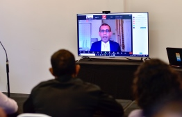 Parliament Speaker Mohamed Nasheed answering questions by journalists -- Photo: Ahmed Awshan Ilyas/ Mihaaru