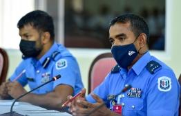 Head of Drug Enforcement Department of Police Shakir speaking in the meeting held by the Parliamentary Committee on Petitions -- Photo: Ahmed Awshan Ilyas/ Mihaaru