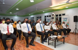 President Ibrahim Mohamed Solih (second left), and First Lady Fazna Ahmed, along with Economic Minister Fayyaz Ismail (L) attending the opening ceremony of a Job Center in Raa Alifushi -- Photo: President's Office