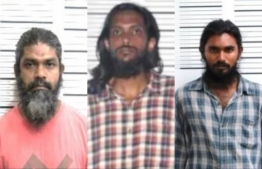 From left to right: Ishaaq,  Mohamed Nazim, and Fahumy Ali, who were arrested for their involvement in the assassination attempt of Nasheed-- Photo: Mihaaru