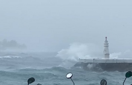 The sea when the rains were heaviest on Wednesday morning --