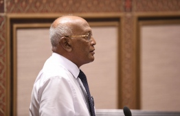 Health Minister Ahmed Naseem addresses the Parliament on Wednesday -- Photo: Parliament