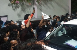 Protest in Addu over not arresting a police officer accused of raping a minor -- Photo: Social Media