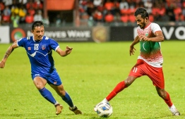 Nepalese and Maldivian football players from the match held on Friday evening -- Photo: Fayaz Moosa/ Mihaaru