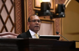 Speaker Nasheed participating in a parliament session on October 12, 2021-- Photo: Parliament