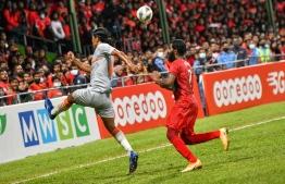 Two players from Maldivian National Football Team and Indian National Football team in the SAFF Championship match held on Wednesday evening -- Photo: Fayaz Moosa/ Mihaaru